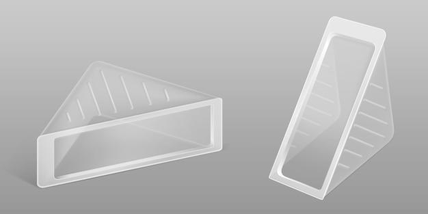 Embalagem de plástico transparente triângulo para sanduíche