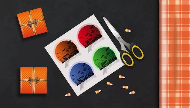Embalagem de presentes para o halloween. mesa com vista superior das caixas de presente. conceito de halloween