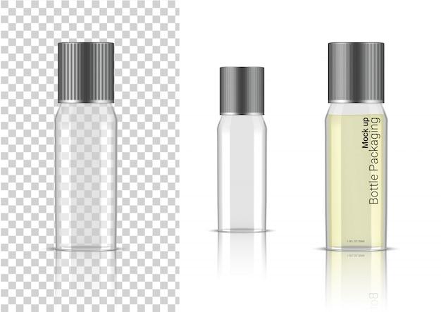 Embalagem de produtos de cuidados de saúde de produto realista de garrafa transparente