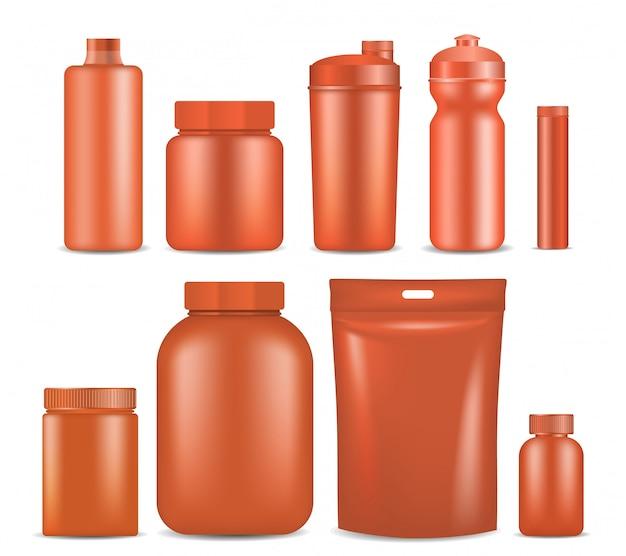 Embalagem de recipiente de nutrição esporte mock-se definido.
