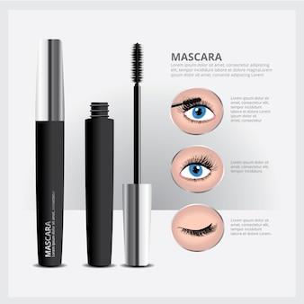 Embalagem de rímel com maquiagem dos olhos