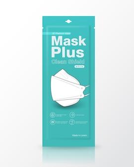 Embalagem de sachê máscaras médicas forma 3d tamanho da embalagem 1 peça