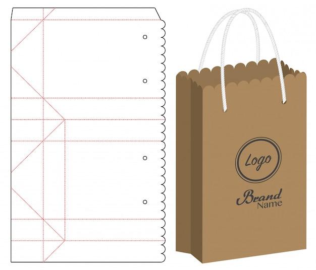 Embalagem de saco de papel cortada