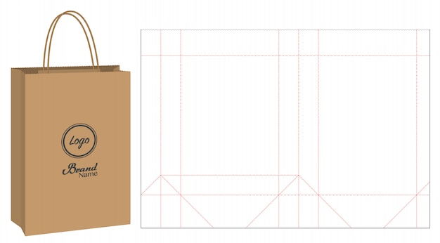 Embalagem de saco de papel die-cut e maquete de saco 3d
