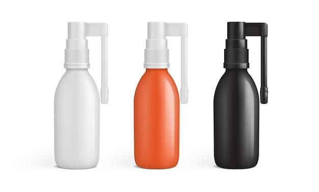 Embalagem de spray oral brilhante isolada no fundo branco