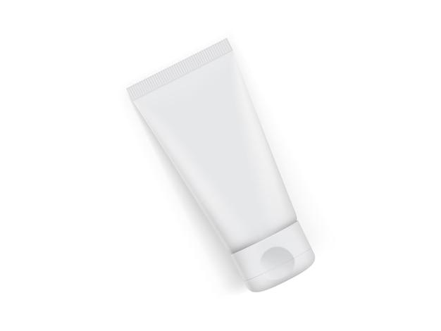 Embalagem de tubo de creme isolada no fundo branco