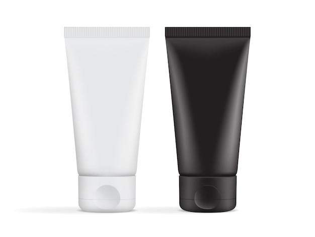 Embalagem de tubo de creme preto e branco isolada no fundo branco