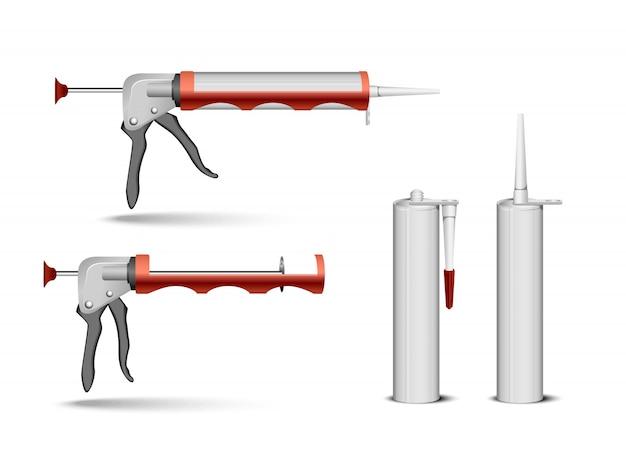 Embalagem de tubo vazio para recipiente de silicone ou gel selante com conjunto de bicos. ilustração realista isolada em fundo transparente