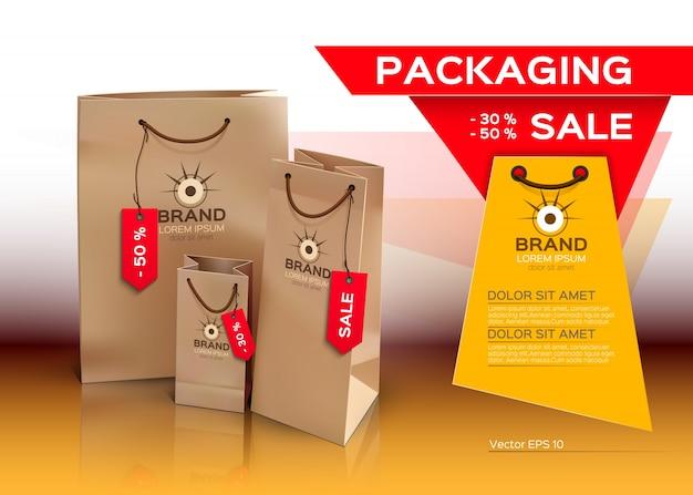 Embalagem de vendas, sacolas de compras, maquete