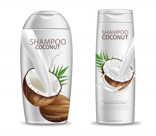 Embalagem de xampu de coco
