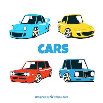 Embalagem decorativa de carros coloridos