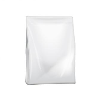Embalagem em branco da folha ou saco de papel para alimentos. pacote de plástico realista