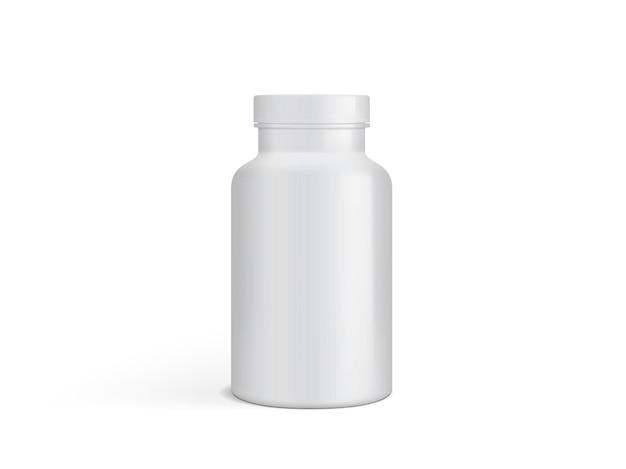Embalagem em branco de plástico branco frasco de remédio