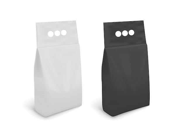 Embalagem em branco em preto e branco isolada no fundo branco