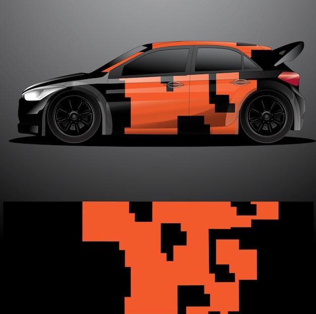 Embalagem gráfica de decalque de carro de rally