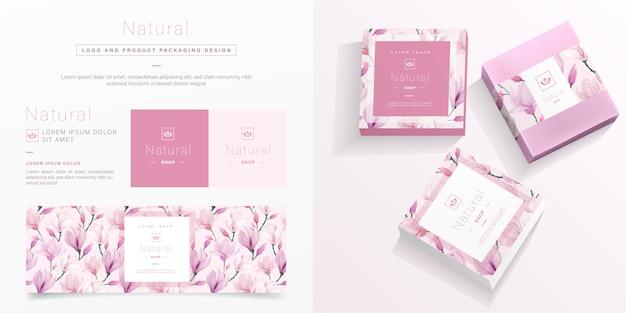Embalagem natural em embalagem floral rosa
