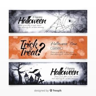 Embalagem original de banners de aquarela de halloween
