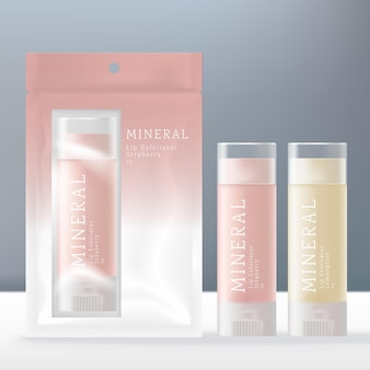 Embalagem para batom em bastão ou esfoliante transparente com saco de folha transparente