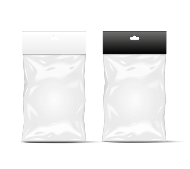 Embalagem plástica preta e branca
