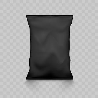 Embalagem plástica vazia preta do saco do petisco