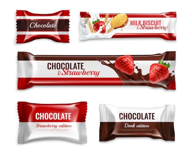 Embalagem realista de bombons e biscoitos de chocolate com deliciosos ingredientes de morango leite colorido isolado