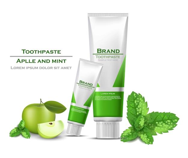 Embalagem realista de pasta de dentes se maquete. tubos verdes de produtos biológicos com sabores de maçã