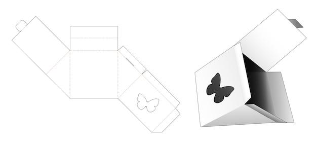 Embalagem triangular com molde de janela em forma de borboleta