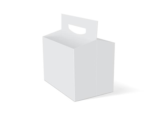 Embalagem vazia de caixa branca de cerveja em uma simulação de vetor de fundo branco