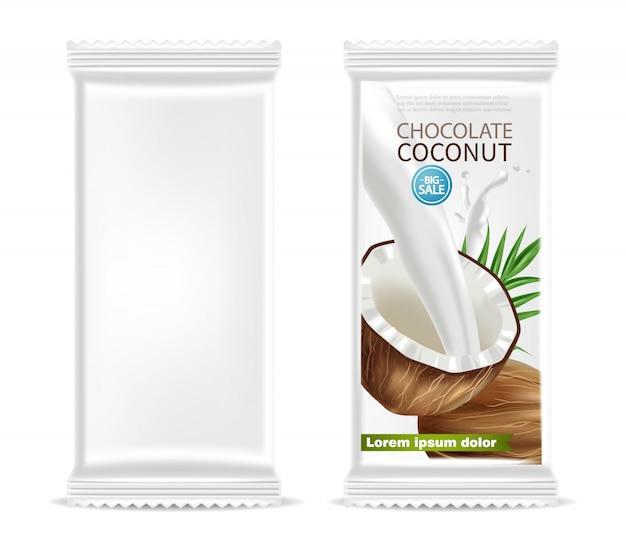 Embalagem vazia de chocolate de coco