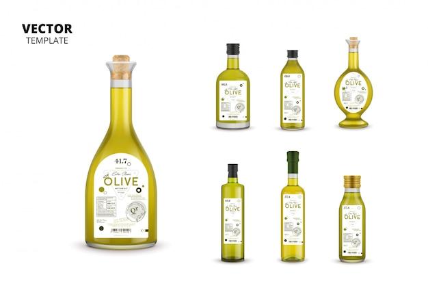 Embalagens de garrafas de vidro de azeite com etiquetas