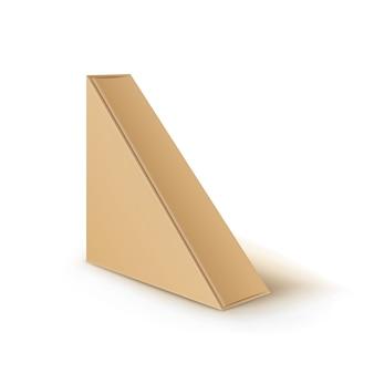 Embalagens de papelão marrom em branco triangular para retirar embalagens para sanduíches