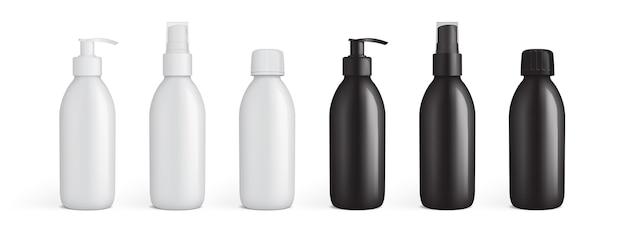 Embalagens de plástico branco e preto para líquidos