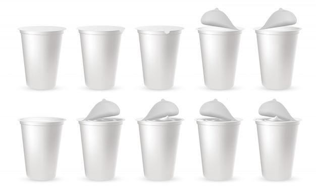 Embalagens de plástico realistas para iogurte com tampa de alumínio, tampa.