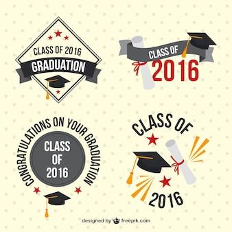 Embalar emblemas do vintage de graduação