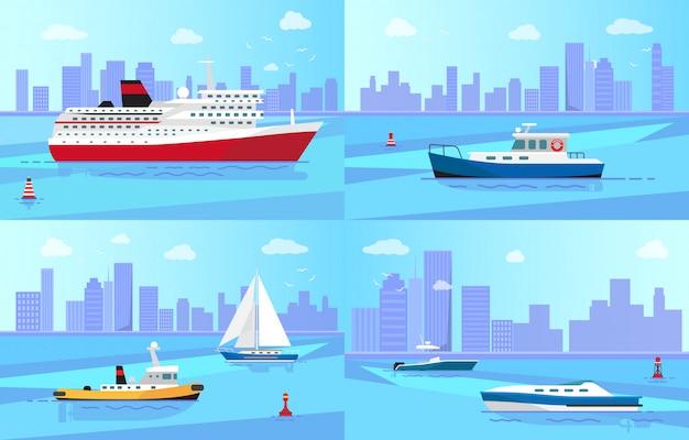 Embarcações marítimas perto de conjunto de ilustrações do litoral