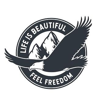 Emblema águia voadora elemento animal da natureza selvagem