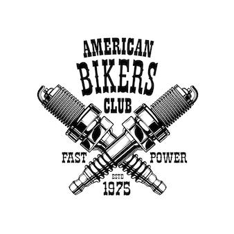 Emblema americano do clube dos motociclistas, velas de ignição do motor