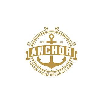 Emblema âncora vela design logotipo