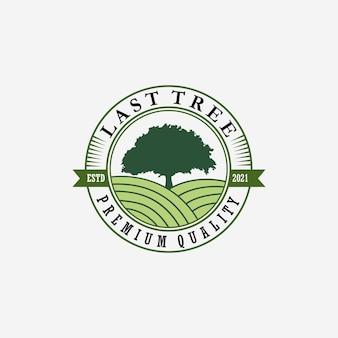Emblema árvore logo vector design ícone de ilustração vintage, farm fresh