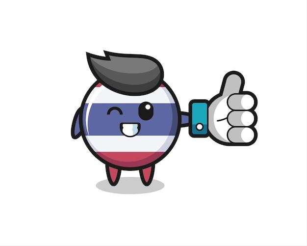 Emblema bonito da bandeira da tailândia com símbolo de polegar para cima de mídia social, design de estilo fofo para camiseta, adesivo, elemento de logotipo