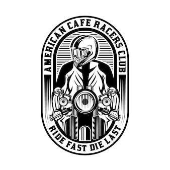 Emblema cafe racer motocicleta vintage