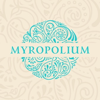 Emblema caligráfico redondo e símbolo floral para café