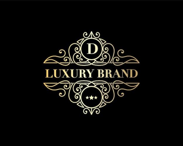 Emblema caligráfico vitoriano de luxo retrô antigo com logotipo heráldico e ornamentos decorativos
