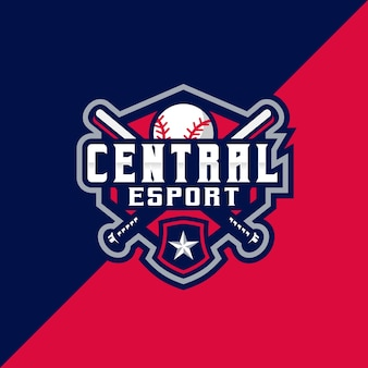 Emblema central baseball esport e sport logo
