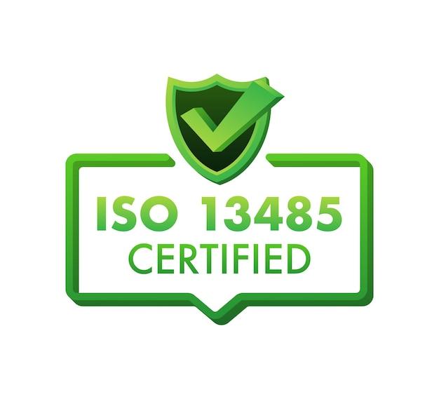 Emblema certificado iso 13485, ícone. selo de certificação. ilustração em vetor design plano.