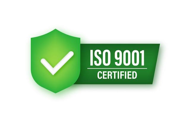 Emblema certificado iso 9001, ícone. selo de certificação. ilustração em vetor das ações.