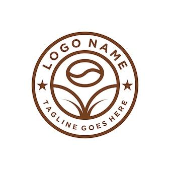 Emblema círculo café em grão e folhas simples, elegante, criativo, geométrico, moderno, logotipo, design