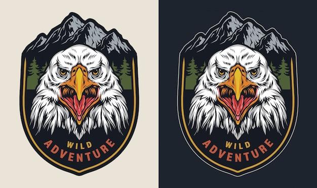 Emblema colorido de aventura selvagem vintage