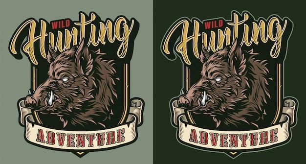 Emblema colorido de caça vintage