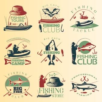 Emblema colorido de pesca com descrições de equipamento e acampamento do clube de passeios de pesca